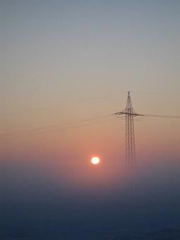 Strommast, Sun, Energy, Power Line, Electricity