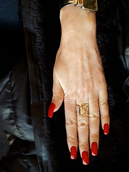 The Hand Of Women, Lacquer Red, Nails, Ring