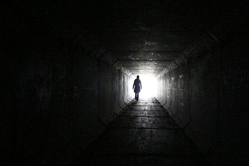 Tunnel, Silhouette, Mysterious, Fantasy, White, Dream