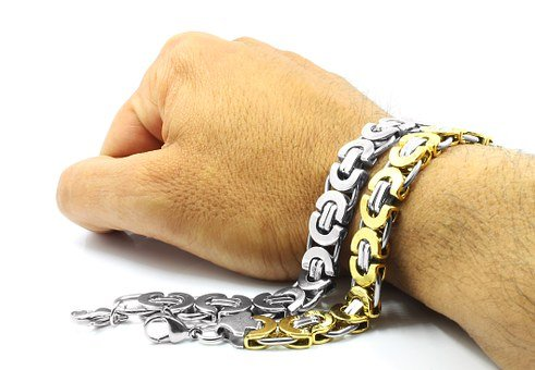 Stainless, Background, White, Bracelet, Steel, Gold