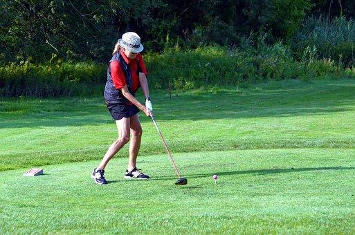 Golfer, Golfing, Golf Swing, Woman, Golf Ball, Tee