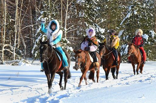 Crazy, Snow, Russia, Winter, Cold, Horse Ride, Womens