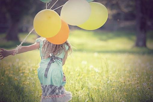 Person, Human, Female, Balloons, Meadow, Nature, Out