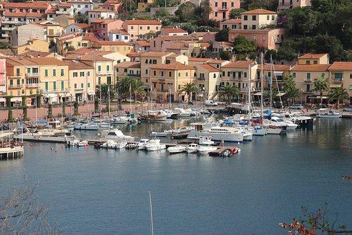 Island, Porto Azzurro, Elba, Italy, Port, Boats