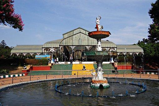 Glass House, Fountain, Botanical Garden, Lal Bagh