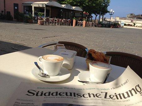 Newspaper, Cafe, Breakfast, Cappuccino