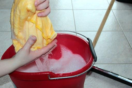 Putz Bucket, Cleaning Rags, Soapsuds, Suited, Clean