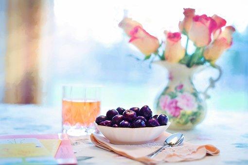 Bowl Of Cherries, Cherries, Breakfast, Colorful, Summer