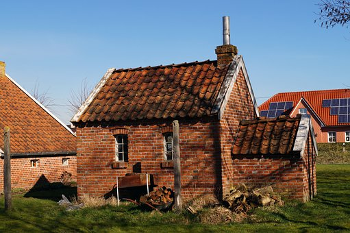 Brick Hut, Very Old, Oven, Peat Drying, East Frisia