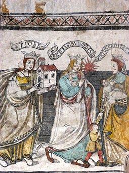 Fresh, Gothic Painting, Virtues, Church, Pyrenees