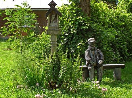 Garden, Sculpture, Chapel, Bench, Green, Summer