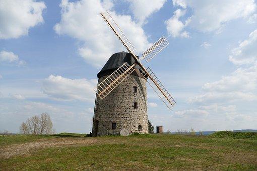 Windmill, Stone, Flour, Warnstedt, Landscape, Sky