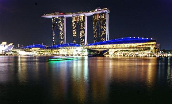 Marina Sand Bay Hotel, Singapore, Mbs, Night Scenery