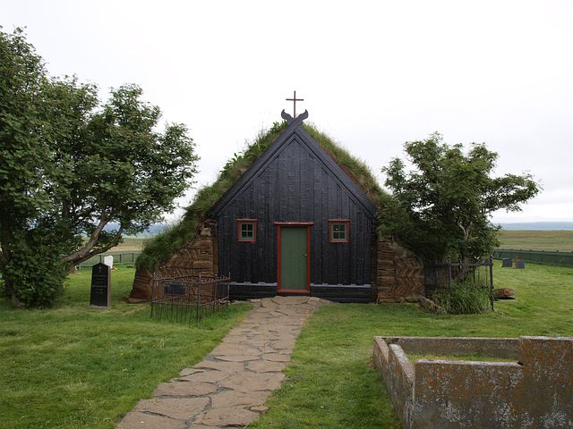 Iceland, Turf Church, Church, Peat, Moss