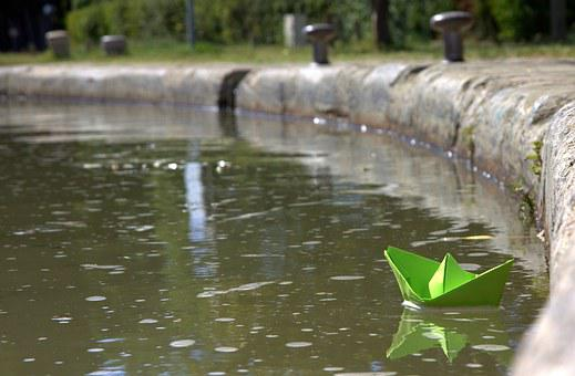 Paperboat, Water, Voyage, Paper, Boat, Toy, Float