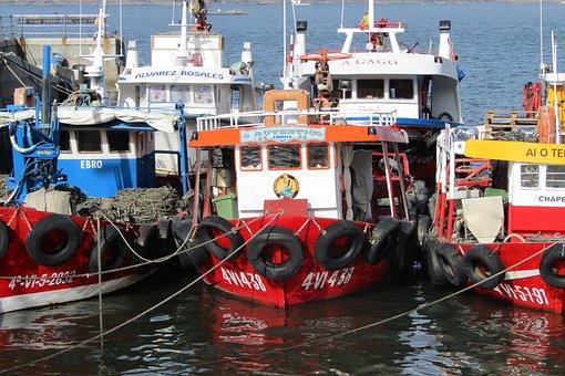 Spain, Galicia, Boats, Fishing, Mussel, Ria De Vigo
