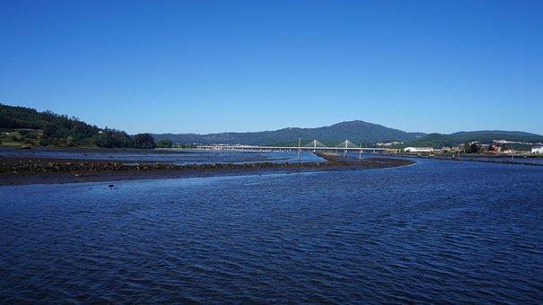 Rias, Sunset, Galicia, Water, Sea, Ocean, Bridge