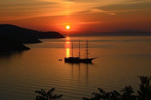 Sunset, Landscape, Sea, Ship, Orange, Italy