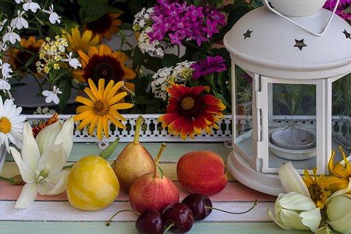 Still Life, Flowers, Fruit, Pears, Cherries, Lamp, Deco