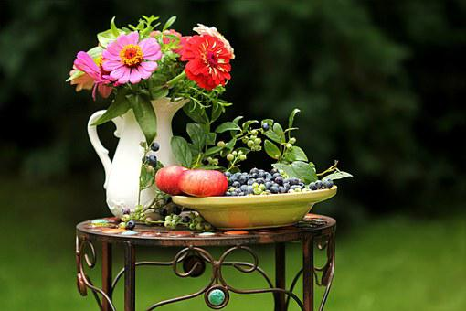 Summer Impression, Flowers, Fruit, Still Life, Garden