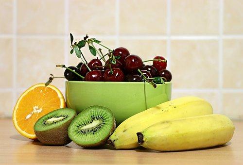 Cherry, Bananas, Kiwi, Kitchen, Still Life, Berry