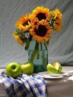Sunflowers, Apples, Life, Still, Summer, Flower