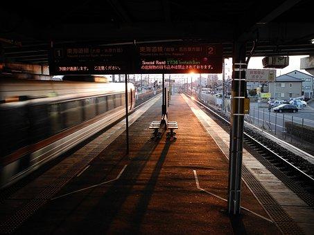 Sunset, Train, Nishi-gifu, Architecture, Skyline, City