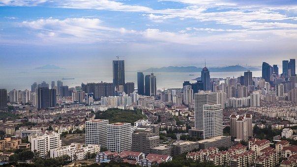 Qingdao, The Sea, Beach, City, Wide Angle
