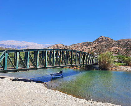 Bridge, River, Greece, Crete, Structure, Architecture
