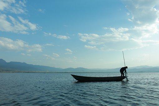 Fishing Boat, Fishing, Sea, Ocean, Water, Silhouette