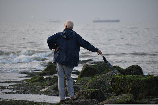 Man, Rocks, Ocean, Waves, Senior, Elderly, Grandparent