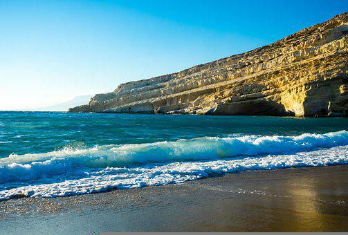 Cliffs, Beach, Sea, Rocks, Matala, Greece, Crete, Bay