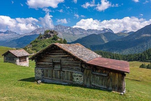Cabin, Cottage, Hut, Stall, Alpine, Mountain, Landscape