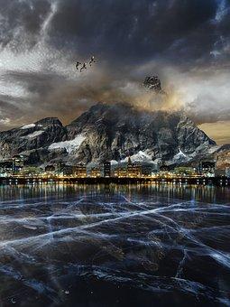 Mountain, Landscape, Lake, City, Town, Sunset, Ice