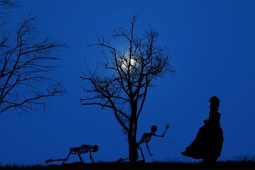 Skeletons, Silhouettes, Trees, Branches, Night, Moon