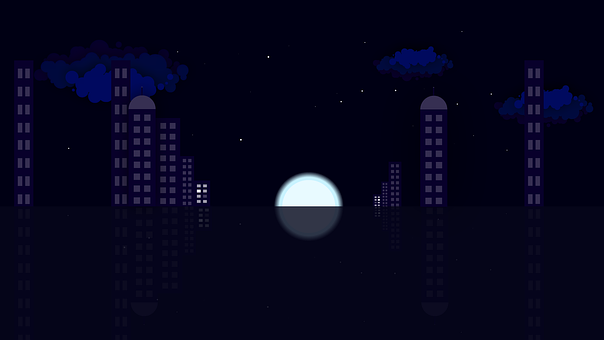 Moon, Moonlight, Cityscape, Reflection, Mirroring