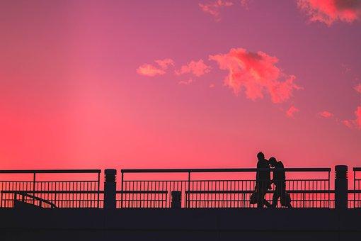 Couple, Lovers, Walk, Bridge, Silhouettes, Romantic