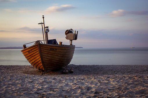 Boat, Ship, Sand, Beach, Ocean, Sea, Sunset, Calm