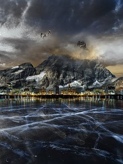 Mountain, Lake, Town, Sunset, Ice, Frozen, City Lights