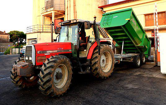 Tractor, Trailer, Transport, Winegrower, Cave