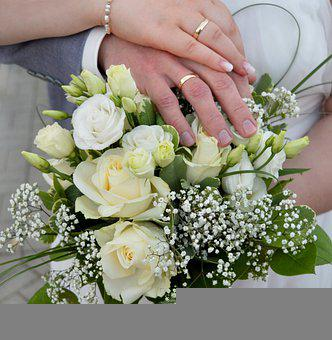 Wedding, Wedding Rings, Wedding Bouquet, Hands, Couple
