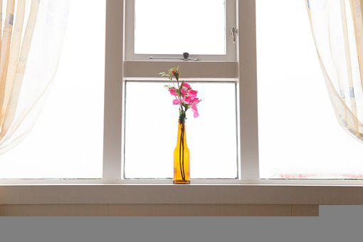 Flower, Bottle, Decoration, Home, Windows, Curtains