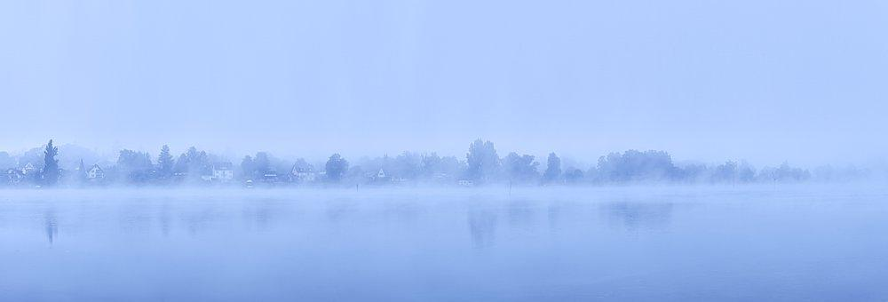 Blue Hour, Lake, Waterscape, Fog, Mist, Water