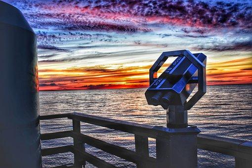 Binoculars, Lake, Clouds, Cumulus, Fence, Water