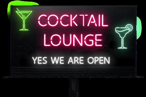 Sign, Billboard, Drinks, Cocktails, Lounge, Neon, Bar