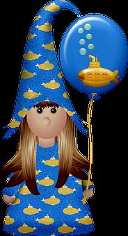 Girl, Gnome, Balloon, Submarine, Cute, Hat, Fantasy