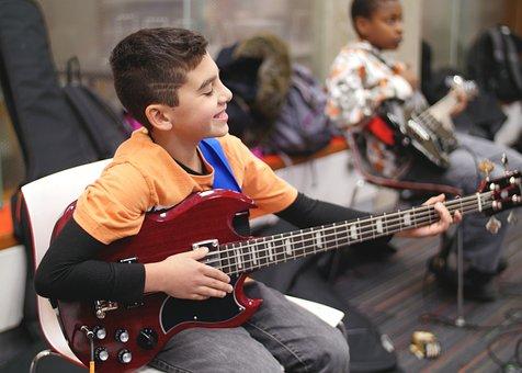 Boy, Child, Bass, Guitar, Instrument, Jazz, Guitarist