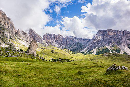 Mountains, Summit, Meadow, Dolomites, Landscape, Hiking