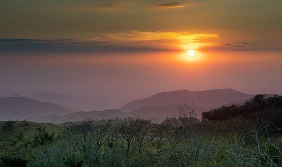 Landscape, Mountain Range, Peak, Summit, Sunset