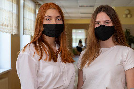 Girls, School, Quarantine, Masks, Pupils, Study, Teen